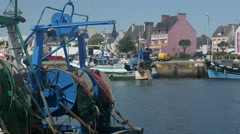 Fishing boats in village, France Stock Footage