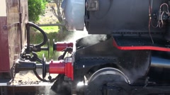 00083 Steam engine being coupled to carriage Stock Footage