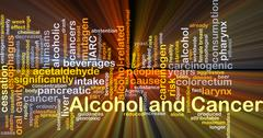 Alcohol and cancer background concept glowing - stock illustration