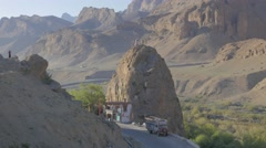 Giant Chamba statue on highway,Mulbekh,Ladakh,India Stock Footage