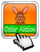 Button Oster Aktion with easter bunny and cursor in german - stock photo