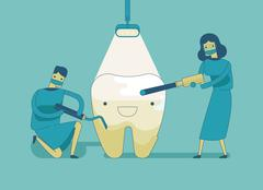 Stock Illustration of Dentist doing a dental treatment the tooth ,dental concept