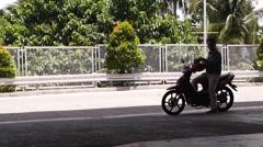 Motorcycle man wearing helmet Stock Footage