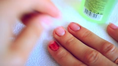 Nail polish remover, beauty salon, manicure.Treatment hand and nail care Stock Footage