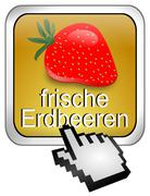 Button fresh strawberry with Cursor - in german - stock photo