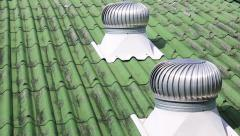 Metal ventilator on the roof of factory ,Energy savings Stock Footage