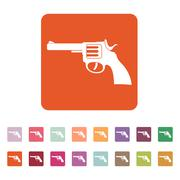 The revolver icon. Gun and weapon symbol. Flat Piirros