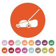 The lawn mower icon. Grass symbol. Flat Stock Illustration