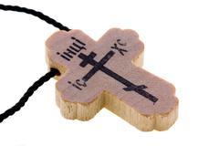 Orthodox wooden neck cross Stock Photos