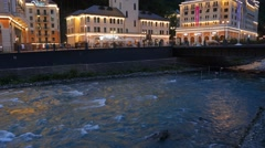 Rosa Khutor Clock Tower in the evening, Mzymta River, Sochi, Russia. 1280x720 Stock Footage