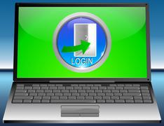 Laptop with Log in Button - stock photo
