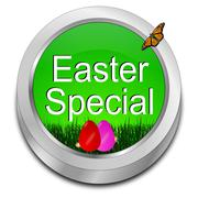 Button Easter Special with easter eggs Stock Photos