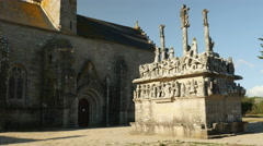 Church and sculpture in Brittany, France Stock Footage
