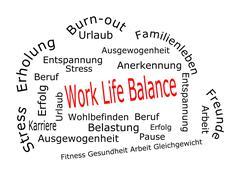 Work Life Balance wordcloud - in german Stock Photos