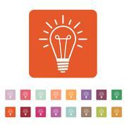 The lightbulb icon. Illumination symbol. Flat - stock illustration