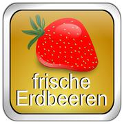 Button fresh strawberry - in german - stock photo