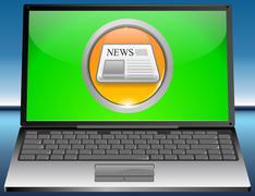 Laptop with News Button Stock Photos