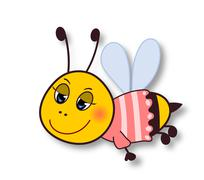 Cute smiling bee-isolated on white - stock illustration