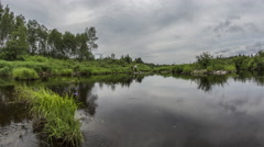 Northern Maine: Wide Reflective River with Clouds Stock Footage