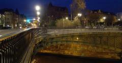 Bridge D'Auvergne Strasbourg at Night Stock Footage