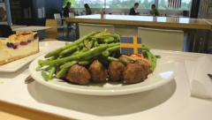 IKEA Food  restaurant panning over Stock Footage