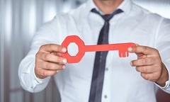 Key to success concept in  datacenter server room - stock photo