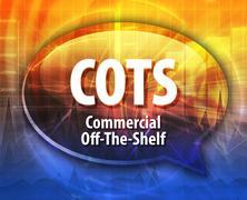 Stock Illustration of COTS acronym definition speech bubble illustration