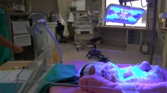 Maternity ward in hospital Stock Footage