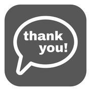 The thank you  icon. Thanks symbol. Flat - stock illustration
