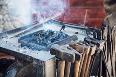 Vintage blacksmith tools Stock Photos