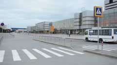 Square and entrance are on Koltsovo Airport area, Yekaterinburg, Russia Stock Footage