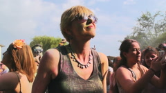 Holi festival in slow motion Stock Footage