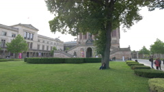 View of the Old National Gallery building in Berlin, in a cloudy day Stock Footage