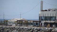 Restaurant On The Pier Near The Beach Stock Footage