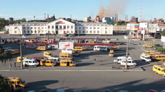 Building of railways station and bus terminus are in Nizhny Tagil Stock Footage