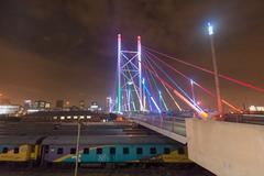 Nelson Mandela Bridge at night - Johannesburg Kuvituskuvat