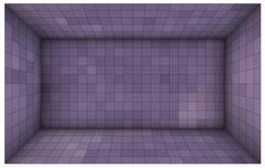 empty futuristic room with purple walls and subdivision - stock illustration
