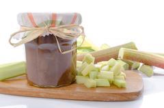 Rhubarb jam jar with fresh rhubarb Stock Photos