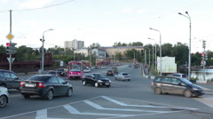 Public pink tram is at the road intersection in the Nizhny Tagil, Russia Stock Footage