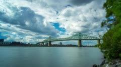 Jacques Cartier Bridge Clouds Timelapse Montreal 4k 1080 Stock Footage