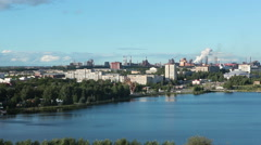 Leninsky district is around a pond in the city of Nizhny Tagil Stock Footage