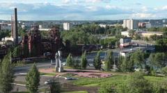 Nizhny Tagil panorama from the Lisya mountain, Russia Stock Footage