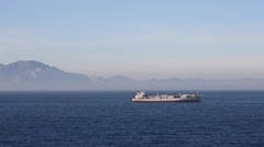 Container Ship - Strait of Gibraltar Stock Footage
