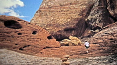 1971: Remote hiking proves rewarding with near-alien geological features. Stock Footage