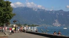 Lake promenade in Vevey Stock Footage