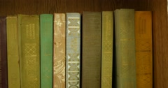 Old Books On The Shelf 4k - stock footage