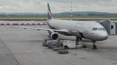 Start maintance of aircraft of Aeroflot Airlines in Koltsovo apron Stock Footage