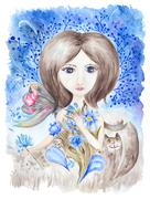 Fairy Girl with Flowers Watercolor Illustration - stock illustration