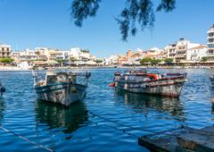 AGIOS NIKOLAOS, GREECE - JULY 20, 2014: Boats in harbor - stock photo