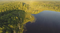 Stock Video Footage of Aerial View of lake and forest in the early morning
